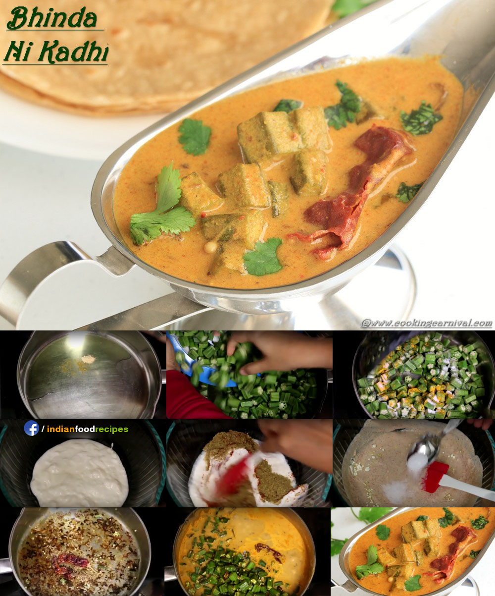 Bhinda Ni Kadhi / Bhindi Kadhi recipe step by step